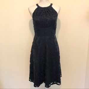 Adrianna Papell Navy Blue Lace Halter Dress
